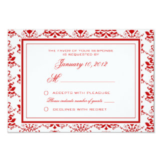 Red and White Damask Elegant Wedding RSVP Custom 3.5x5 Paper Invitation Card