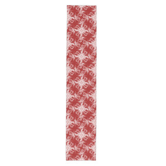 Red and White Damask Floral Medium Table Runner