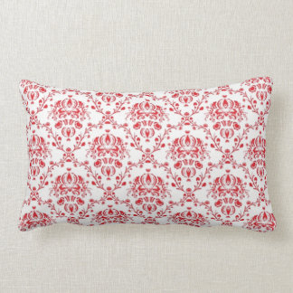 Red and White Damask Lumbar Cushion