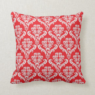 Red and White Damask Throw Pillow