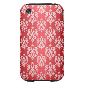 Red and White Damask Vintage Pattern Tough iPhone 3 Cases