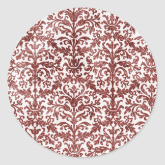 Red and White Damask Wallpaper Pattern Classic Round Sticker