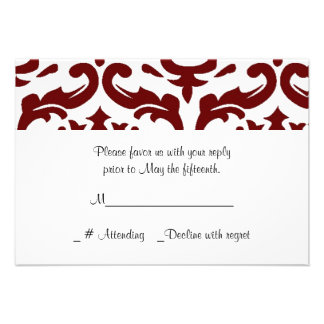 Red and White Damask Wedding RSVP Card Custom Announcements