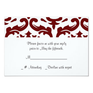 "Red and White Damask Wedding RSVP Card 3.5"" X 5"" Invitation Card"