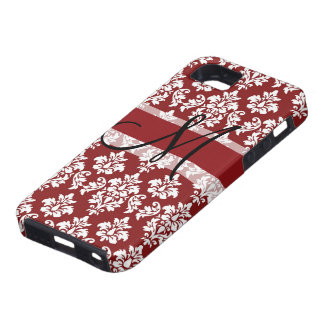 Red and White Damask Your Monogram Case For The iPhone 5