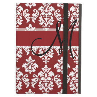 Red and White Damask Your Monogram iPad Air Cases