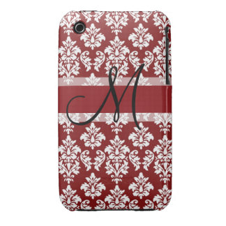 Red and White Damask Your Monogram iPhone 3 Covers