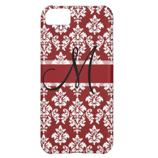 Red and White Damask Your Monogram iPhone 5C Case
