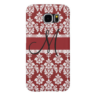 Red and White Damask Your Monogram Samsung Galaxy S6 Cases