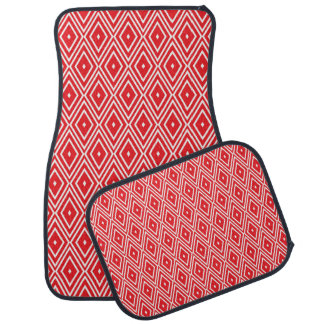 Red and White Diamond Pattern Car Mat