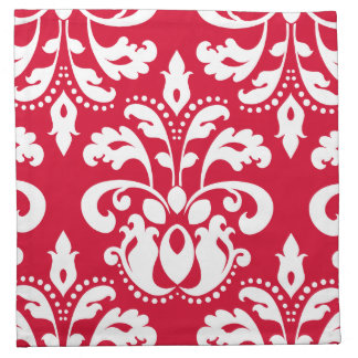 Red and white elegant Christmas damask Printed Napkin