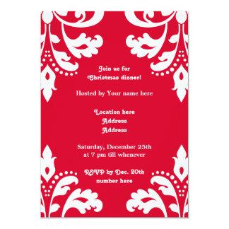 Red and white elegant Christmas damask dinner 13 Cm X 18 Cm Invitation Card