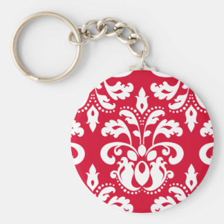 Red and white elegant Christmas damask Key Ring