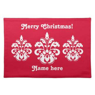 Red and white elegant Christmas damask Placemat