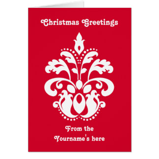 Red and white elegant Christmas damask version 1 Greeting Cards