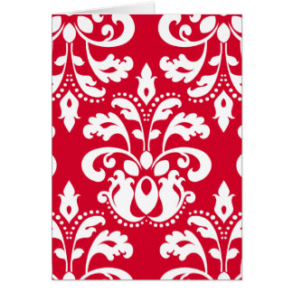 Red and white elegant Christmas damask version 2 Greeting Card