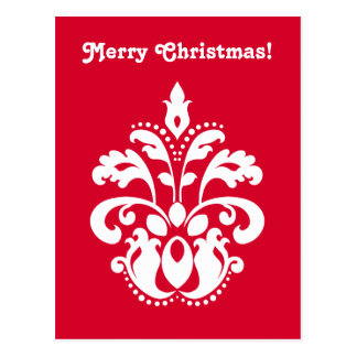 Red and white elegant Christmas damask version 2 Post Card