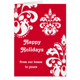 Red and white elegant Christmas damask version 3 Cards