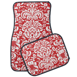 Red and White Floral Damask Floor Mat