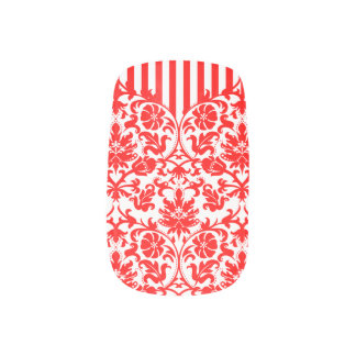 Red and White Floral Damask Print Nails Stickers