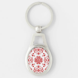 Red and White Floral Damask Style Pattern Silver-Colored Oval Key Ring