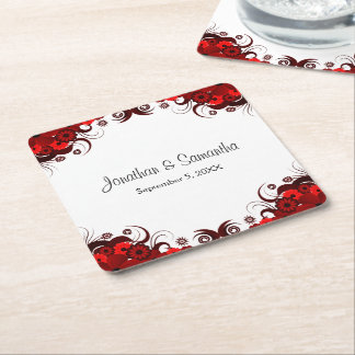 Red and White Floral Gothic Square Paper Coasters