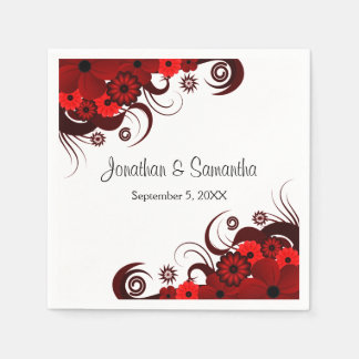 Red and White Floral Gothic Wedding Paper Napkins