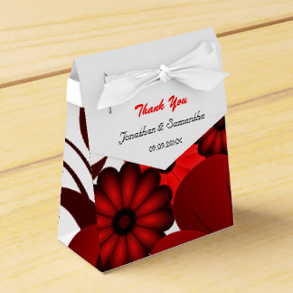 Red and White Floral Tent With Ribbon Favor Box Party Favour Box