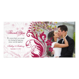 Red and White Floral Wedding Thank You Photocard Photo Greeting Card
