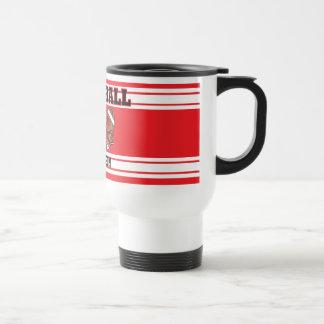 Red and White Football Travel Mug