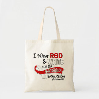 Red And White For My Grandfather 42 Oral Cancer Canvas Bags