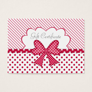 Red and White Gift Certificate Business Card
