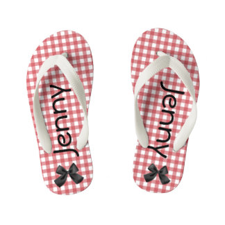 Red and White Gingham Girls Flip Flops Thongs