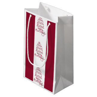 Red And White Happy Birthday Cake Design Small Gift Bag