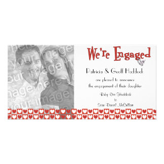Red And White Hearts Photo Engagement Announcement Photo Card Template