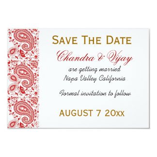 """Red and white Indian damask Save the date wedding 3.5"""" X 5"""" Invitation Card"""