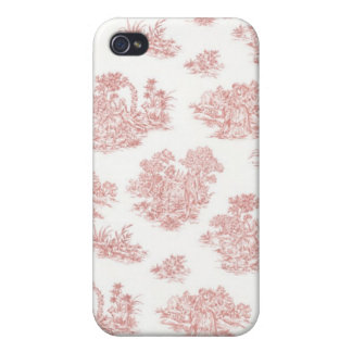 Red and white Jouy print iPhone 4 Cover