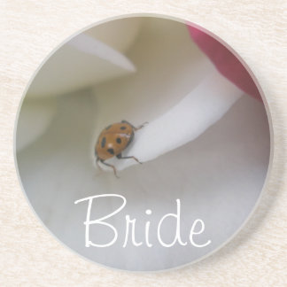 Red and White Ladybug Petals Wedding Beverage Coaster