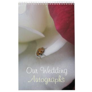 Red and White Ladybug Petals Wedding Wall Calendars