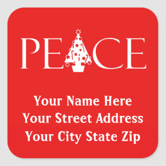 Red and White PEACE Return Address Labels Square Sticker