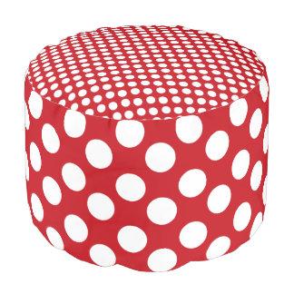 Red and White Polka Dot Print Pouf