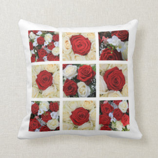 red and white rose collage pillow