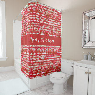 Red and White Rows Christmas Picture Font Pattern Shower Curtain