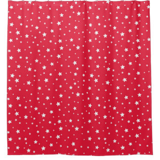 Red and White Stars Celestial Sky Shower Curtain