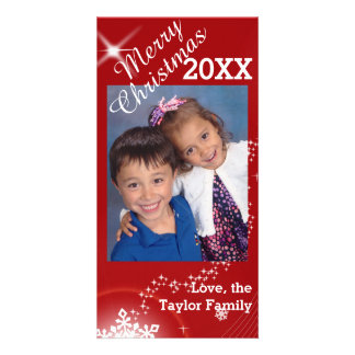 Red and White Stars Christmas Photo Card