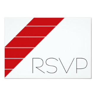Red and white Stripe RSVP 9 Cm X 13 Cm Invitation Card