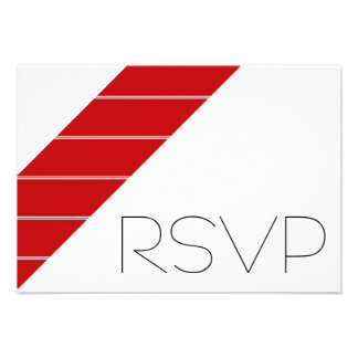 Red and white Stripe RSVP Personalised Invitations