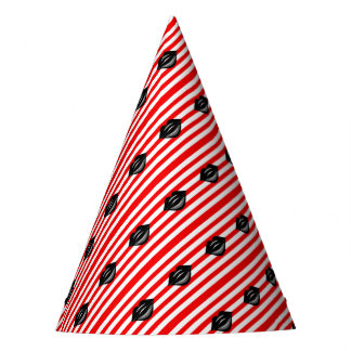 red and white striped kiss party hat