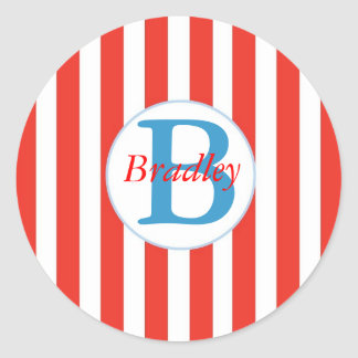 Red and White Striped Sticker