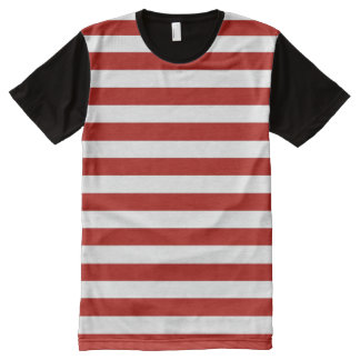 Red and White Stripes All-Over Print T-Shirt